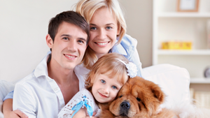Living - family with dog